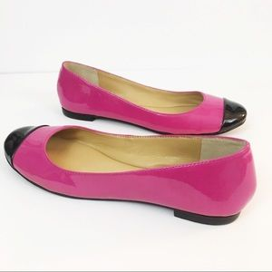 Nine West Bright Pink & Black Flats